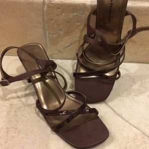 Brown Satin like material sandals, with sequence